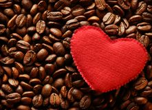 Coffee beans with heart Stock Images