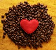 Coffee beans with heart Royalty Free Stock Photography