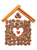 Coffee Beans, Heart, Cinnamon sticks on white. Background. Concept of love, comfort, family Stock Photo