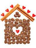 Coffee Beans, Heart, Cinnamon sticks on white. Background. Concept of love, comfort, family Royalty Free Stock Images