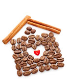 Coffee Beans, Heart, Cinnamon sticks on white background Stock Photos