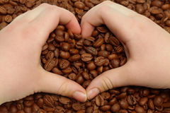 Coffee beans and heart Royalty Free Stock Image