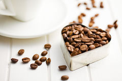 Coffee beans in heart form Stock Photo