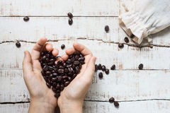 Coffee beans heart Stock Images