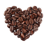 Coffee beans heart isolated on white background close up Royalty Free Stock Photos