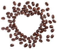 Coffee beans heart isolated on white background close up Royalty Free Stock Photo