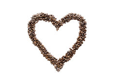 Coffee beans and heart Stock Photography
