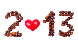 Coffee beans and heart make 2013 Stock Photos