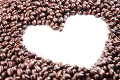 Coffee beans heart outline Stock Photo