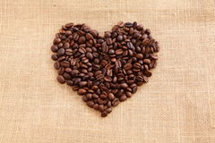 Coffee beans with heart shape Stock Photos