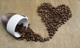 Coffee beans heart shape Royalty Free Stock Photography