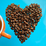 Coffee beans in heart shape Stock Photos