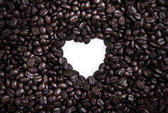 Coffee beans in heart shape Stock Photography