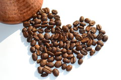 Coffee beans. In heart shape Stock Images