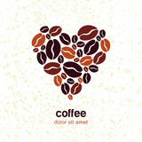 Coffee beans in heart shape on grunge texture background. Vector Royalty Free Stock Images