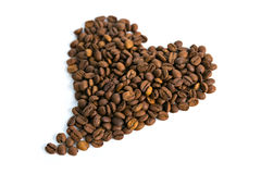 Coffee beans, heart shape Royalty Free Stock Photography