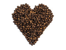 Coffee Beans In Heart Shape Isolated On White Background Royalty Free Stock Image