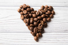 Coffee beans. Heart shape made by coffee beans Stock Image