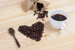 Coffee beans in heart shape Stock Images