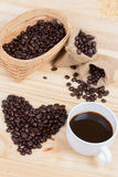 Coffee beans in heart shape Royalty Free Stock Images