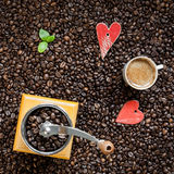 Coffee beans and heart shape Stock Images