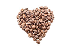 Coffee beans in a heart shape texture background close isolated on white Royalty Free Stock Photography