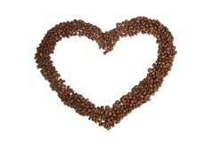 Heart shape made from coffee beans Stock Images
