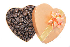 Coffee Beans in Heart Shaped Box Stock Images