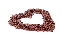 Coffee beans in heart symbol isolated Royalty Free Stock Photo