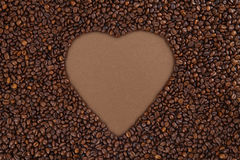 Coffee beans with heart Stock Image