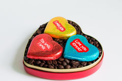 Coffee beans in the heart on Valentine's Day Royalty Free Stock Photos