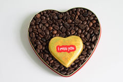 Coffee beans in the heart on Valentine's Day Royalty Free Stock Photo
