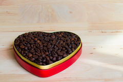 Coffee beans in the heart on Valentine's Day Stock Photography