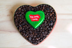 Coffee beans in the heart on Valentine's Day Royalty Free Stock Photography