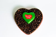 Coffee beans in the heart on Valentine's Day Stock Photo