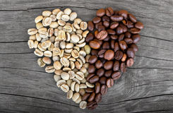 Coffee beans hearth shape Royalty Free Stock Photos