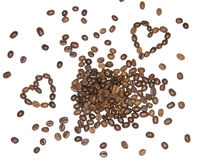 Coffee beans hearts Royalty Free Stock Photos