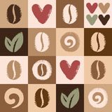 Coffee beans and hearts seamless vector pattern. Seamless vector pattern made of coffee beans, leaves and hearts on geometrical background. Brush drawn - rough Royalty Free Stock Images