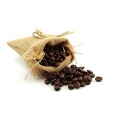 Coffee beans in hemp sack bag isolated on white background Royalty Free Stock Image