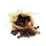 Coffee beans in hemp sack bag isolated on white background Stock Photo