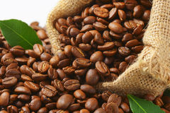 Coffee beans in Hessian sack Stock Photography
