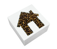 Coffee beans in house shape Stock Photos