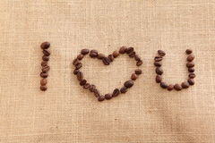 Coffee beans with i love you shape Stock Photos