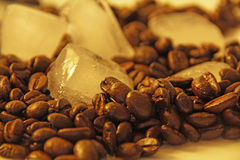 Coffee Beans And Ice Cube. This photo shows some coffee beans and ice cubes royalty free stock photo