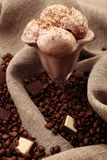 Coffee beans and icecream Royalty Free Stock Photography