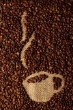 Coffee beans icon Coffee cup with hot coffee royalty free stock image