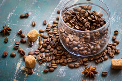 Free Coffee Beans In Jar And Loose On The Old Shabby Background Stock Photo - 65667160