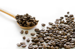Coffee Beans In Wooden Spoon On White Background, Coffee, Aroma