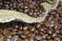 Coffee Beans and Jute Bag Royalty Free Stock Photo