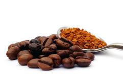 Coffee beans and instant coffee. On white background Royalty Free Stock Images